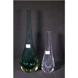"Two art glass vases including a 14 1/2"" green glass and a 9 1/2"" vase"