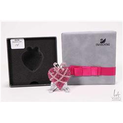 Pink Swarovski crystal heart brooch