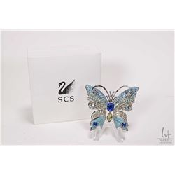 Large Swarovski crystal butterfly brooch