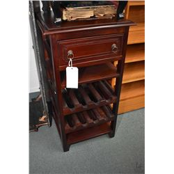 "Contemporary single drawer cabinet with wine bottle storage, 37"" in height"