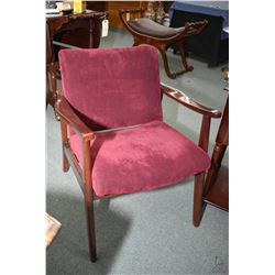 Retro style open arm upholstered parlour chair