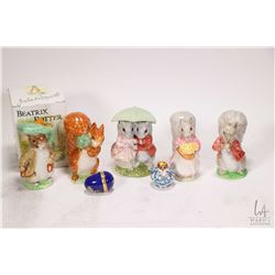 Five Beswick Beatrix Potter figures including Timmy Tiptoes, Goody Tiptoes, Squirrel Nutkin, Benjami
