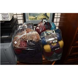 Four large bags of wool including Home Spun, Loops & Threads, Lion brand, Bernat Alpaca etc.