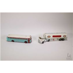 Dinky Esso Tanker and a Dinky Super Toys bus, note retouched paint