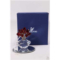 Swarovski crystal vase of roses with original box and small mirror