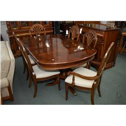"Large double pedestal matched grain dining room suite with 72"" x 44"" table, two skirted 15"" leaves a"