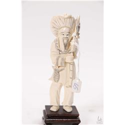 "Genuine elephant tusk scrimshaw carving of an Asian fisherman, 6"" in height plus rosewood plinth"