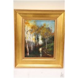 Gilt framed acrylic on canvas painting titled on verso Landscape with the Birches and initialled by