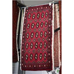 """100% handmade Iranian scatter rug with red background, 19"""" X 42"""""""