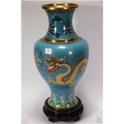 "Oriental Cloisonne baluster vase with turquoise background, double dragon and wave motif 16"" in heig"
