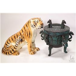 "A cast metal three footed Jia pot and an Italian made 12"" glazed pottery tiger figure"