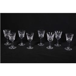Eight Waterford Lismore crystal liqueur glasses . Note: No Shipping. Local Pickup Only