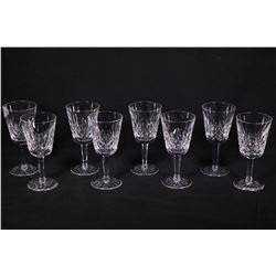 Eight Waterford Lismore crystal white wine glasses. Note: No Shipping. Local Pickup Only