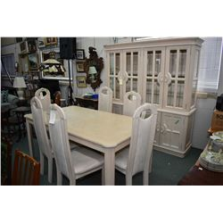 Semi contemporary dining suite with washed finish including dining table, six chairs and a large ill