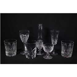 Selection of quality Waterford crystal including three tumblers, two matching, plus a white wine and