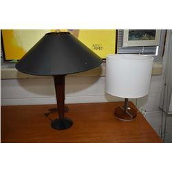 Two modern retro style table lamps with shades