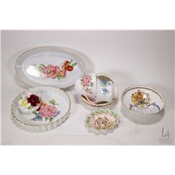 Selection of china collectibles including two Royal Worcester Pershore serving dishes, three Royal A
