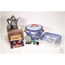 Tray lot of collectibles including boxed tea pot with white metal applique and five cups, a boxed se