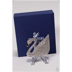 Large Swarovski crystal swan brooch
