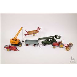 Selection of Dinky toys including a Millitary serving platform, a mobile crane, a Massey tractor wit