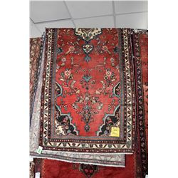 100% handmade Hamdan Iranian wool area carpet with center medallion, red background, stylized floral