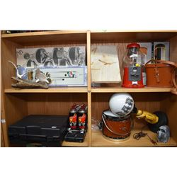 Shelf lot of collectibles including two boxed Galileo thermometers, cased Thunder Range portable gas