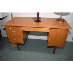 Small mid century modern double pedestal teak writing desk