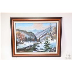 Two framed original oil on board paintings including a winter mountains and a fall lake scene, both