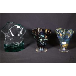 "Three pieces of art glass including two fluted pieces and a green glass piece 7 1/2"", all artist sig"