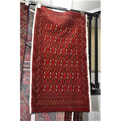 "100% handmade Iranian scatter rug with red background 20"" X 41"""