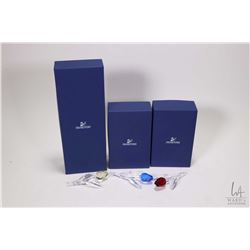 Three boxed Swarovski crystal tulips