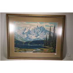"Framed silkscreen print ""Emerald Lake, Yoho Park"" by artist Alan Caswell Collier, overall dimensions"