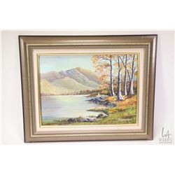 """Two framed original oil on board paintings including winter cabin with deer 13 1/2"""" X 17 1/2"""" and fa"""