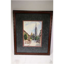 Framed watercolour painting purportedly Church of Coronation in Hungary by artist Csikv Andrash (?),