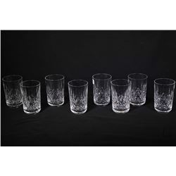 Eight Waterford Lismore crystal 10 oz. tumblers . Note: No Shipping. Local Pickup Only