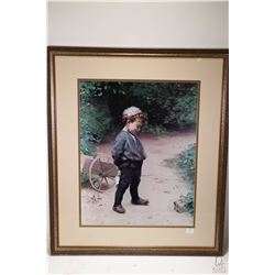 "Framed print "" The Young Biologist"" by artist Paul Peel, overall dimensions 28"" X 24"""