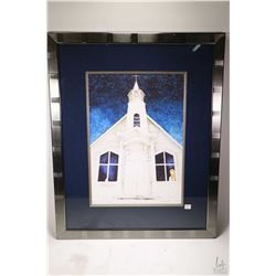 "Framed limited edition print ""Remembering Lac Gemont"" pencil signed by artist Marilyn Goslin, 8/200,"