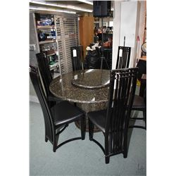 "50"" diameter granite table on octagonal granite base with 25"" matching lazy Susan plus six black lac"