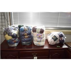 Four large bags of wool including Tradition, Bernat baby yarn, Tradition, Home Spun, Patons etc.