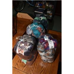 Four large bags of wool including Home Spun, Loops & Threads, Impeccable etc.