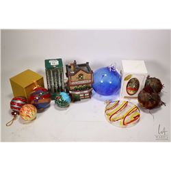 Two trays of Christmas ornaments including glass balls, boxed ornaments, Waterford crystal ornament