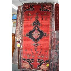 100% handmade Iranian Lori area carpet/ runner with center medallion, red background with highlights