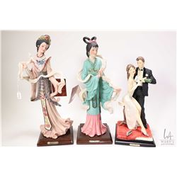 "Two 13 1/2"" figurines of Asian ladies by Dear Italy anda Vittorio Tessaro 10"" bride and groom"
