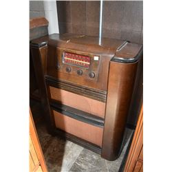 Floor standing walnut cased Westinghouse radio