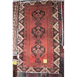 100% Iranian Ferdos wool area carpet with triple medallion, red background, highlights of brown, cre
