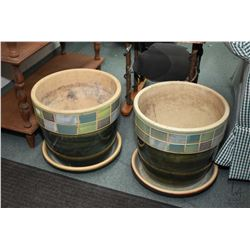 "Pair of matching glazed pottery 12"" high planters . Note: No Shipping. Local Pickup Only"
