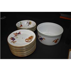 "Selection of Royal Worchester ""Eve Sham"" including ten side plates, five cereal bowls and a 7 1/2"" s"