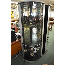 """Modern curved glass illuminated corner display unit, 74"""" in height"""