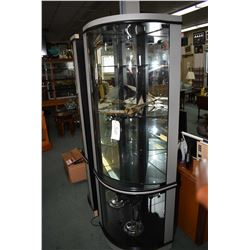 "Modern curved glass illuminated corner display unit, 74"" in height"