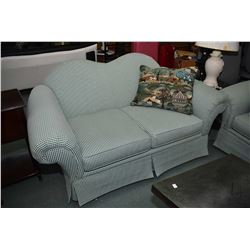 Camel back full sofa and matching loveseat with country gingham upholstery plus a selection co-ordin